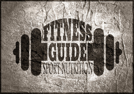 body building: Fitness guide text. Creative Typography Poster Concept. Letters and dumbbells icons. Body building relative concrete textured image