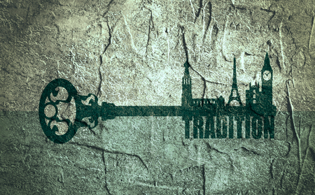 secret place: Diversity monuments of Europe, famous landmark as part of the key. Tradition text. Russian church, Big ben and Eiffel tower. Concrete textured