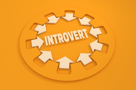 intuitive: Inrovert simple icon metaphor. image relative to human psychology Stock Photo