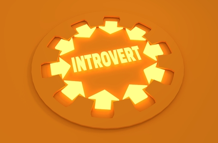 modest: Inrovert simple icon metaphor. image relative to human psychology Stock Photo