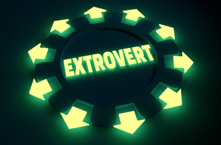 extrovert: extrovert simple icon metaphor. image relative to human psychology