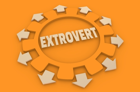 intuitive: extrovert simple icon metaphor. image relative to human psychology