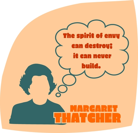 prime: UNITED KINGDOM-CIRCA1985: Margaret Thatcher, British Prime Minister. She was Prime Minister from 1979-1990. Stylized Simple Flat Style Portrait. Bubble speech with quote