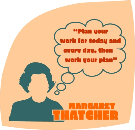 minister: UNITED KINGDOM-CIRCA1985: Margaret Thatcher, British Prime Minister. She was Prime Minister from 1979-1990. Stylized Simple Flat Style Portrait. Bubble speech with quote