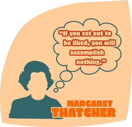 UNITED KINGDOM-CIRCA1985: Margaret Thatcher, British Prime Minister. She was Prime Minister from 1979-1990. Stylized Simple Flat Style Portrait. Bubble speech with quote