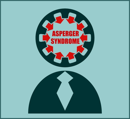 asperger syndrome: Icon with flat design elements of human mind process, people brain thinking, mental health and Asperger syndrome problem, opportunities and mental transform. Modern pictograph concept.
