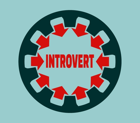 modest: Introvert simple icon metaphor. image relative to human psychology Illustration