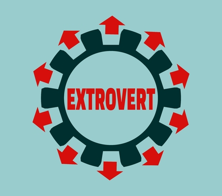 modest: extrovert simple icon metaphor. image relative to human psychology