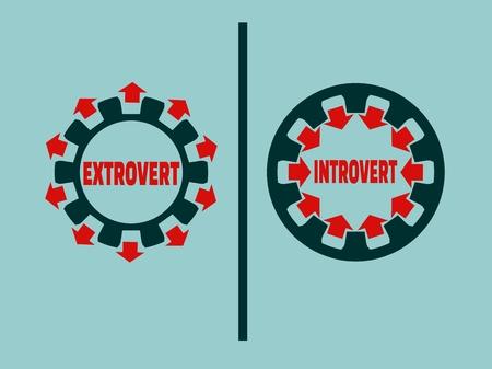 extrovert vs introvert simple icon metaphor. image relative to human psychology Çizim