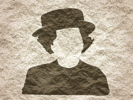 thatcher: Vintage woman in hat silhouette. Crumpled paper textured