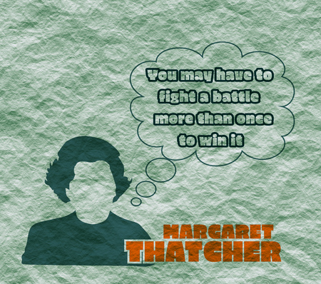 thatcher: Margaret Thatcher Stylized Simple Flat Style Portrait. Bubble speech with quote. Crumpled paper textured
