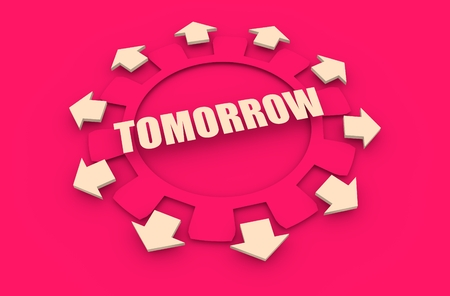 tomorrow: Industry theme relative concept. Arrows withing cog wheel. Tomorrow text