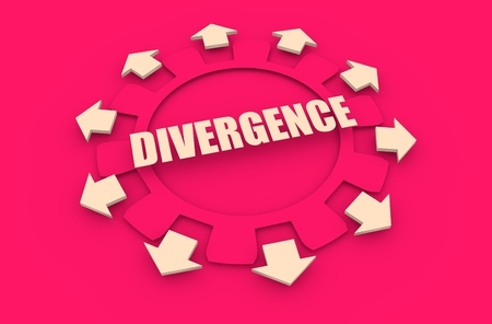 divergence: Industry theme relative concept. Arrows withing cog wheel. Divergence text