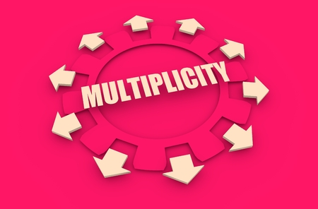 divergence: Industry theme relative concept. Arrows withing cog wheel. Multiplicity text Stock Photo