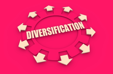 divergence: Industry theme relative concept. Arrows withing cog wheel. Diversification text Stock Photo