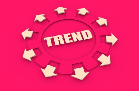 divergence: Industry theme relative concept. Arrows withing cog wheel. Trend text Stock Photo