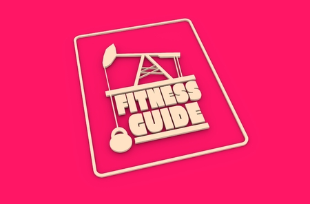body building: Fitness guide text. Creative Typography Poster Concept. Letters and oil pump jack icons. Body building relative image Stock Photo