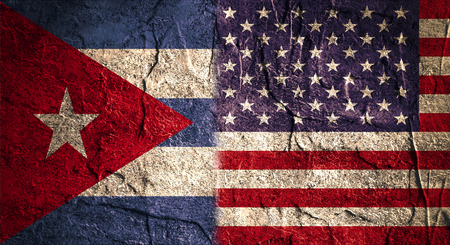 cuban: Image relative to politic relationships between USA and Cuba. USA and cuban grunge Flag. Concrete textured Stock Photo