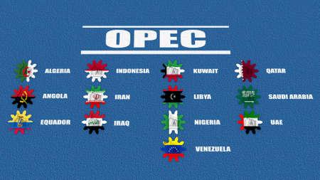 opec: OPEC members list. Oil pump icons on cog wheels