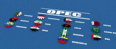 cog wheels: OPEC members list. Oil pump icons on cog wheels