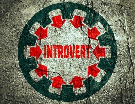 modest: Introvert simple icon metaphor. image relative to human psychology. Concrete textured