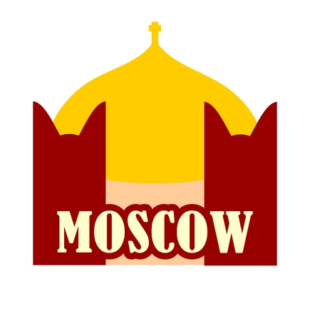 moscow city: minimalist icon of Moscow City, Russia. Flat style. Church elements