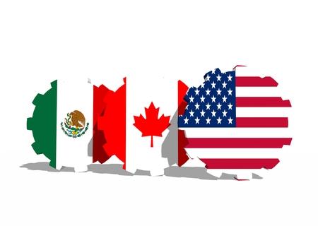 North american free trade agreement members flags on cog wheels north american free trade agreement members flags on cog wheels photo platinumwayz