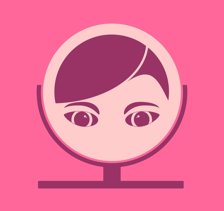 reflection mirror: Portrait of elegant woman reflection in mirror. Flat icon style