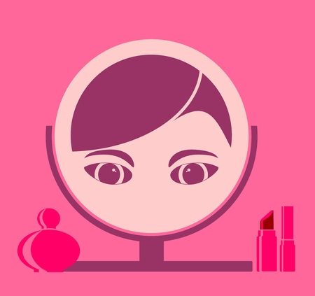 make up model: Portrait of elegant woman reflection in mirror. Perfume and lipstick set. Flat icon style