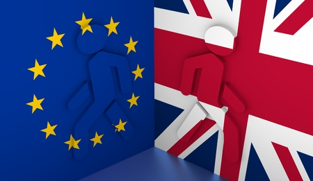 politic: Image relative to politic situation between great britain and european union. Pedestrians icons textured by flags go away. Politic process named as Brexit metaphor Stock Photo