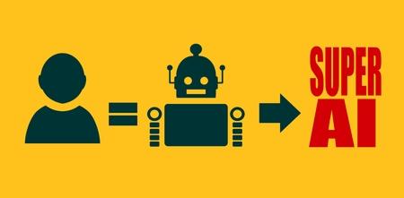 singularity: Human to robot evolution. Robotics industry relative image. Singularity problem metaphor