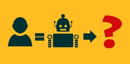 Human to robot evolution. Robotics industry relative image. Singularity problem metaphor Reklamní fotografie - 54213172