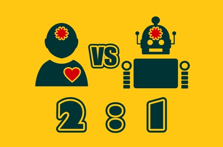 advantages: Cute vintage robot and human. Robotics industry relative image. Humanity advantages