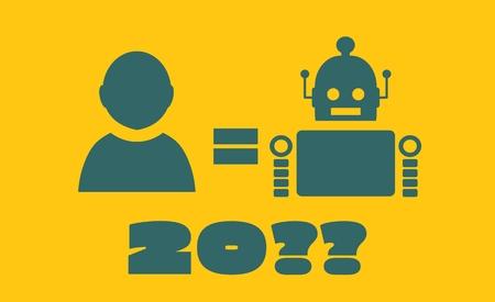 singularity: Cute vintage robot and human. Robotics industry relative image. Singularity problem metaphor