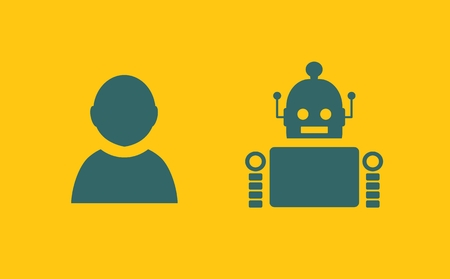 relative: Cute vintage robot and human. Robotics industry relative image. Illustration