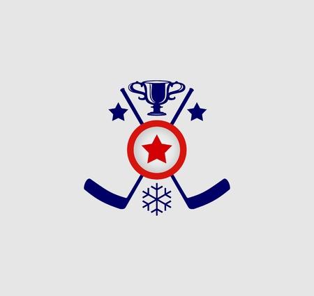 hockey game: sport emblem, image relative to ice hockey game Illustration