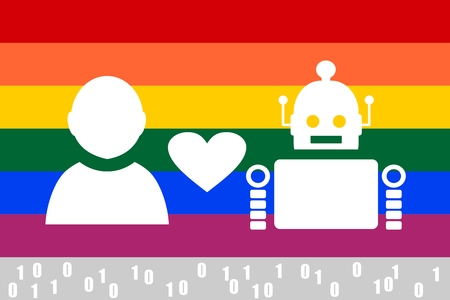 deviant: Human and robot relationships. Robotics industry relative image. Heart icon between robot and human. LGBT rainbow flag