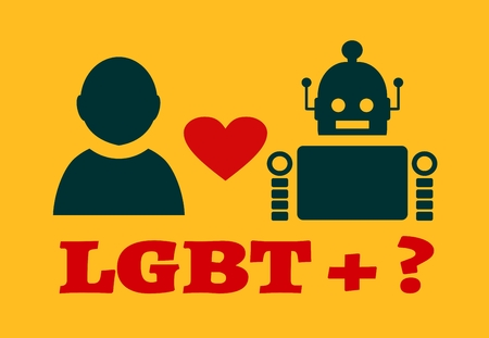 deviant: Human and robot relationships. Robotics industry relative image. Heart icon between robot and human. LGBT text