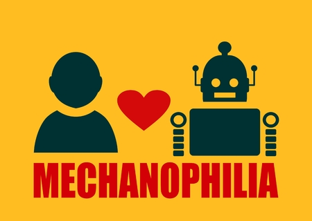 deviant: Human and robot relationships. Robotics industry relative image. Heart icon between robot and human. Mechanophilia text Illustration