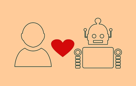 robotics: Human and robot relationships. Robotics industry relative image. Heart icon between robot and human. Outline icons