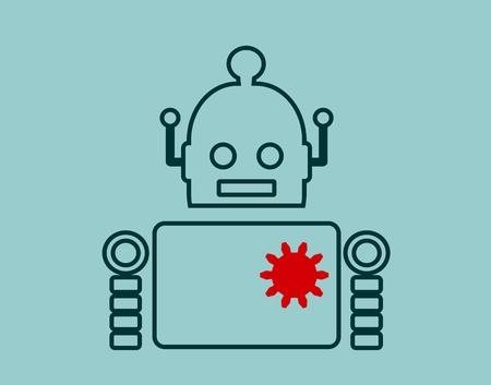 singularity: Cute vintage robot. Robotics industry relative image. Outline icon. Cog wheel instead heart