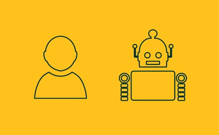 robotics: Cute vintage robot and human. Robotics industry relative image. Outline icons Illustration