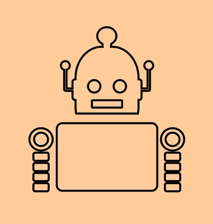 relative: Cute vintage robot. Robotics industry relative image. Outline icon