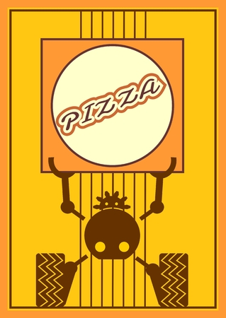 food industry: Funny robot holds a pizza box. Food delivery. Robotics industry relative image