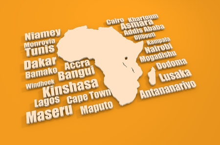 dakar: African capitals around outline map.Travel relative 3D illustration
