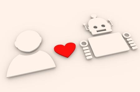 singularity: Human and robot relationships. Robotics industry relative image. Heart icon between robot and human. 3D rendering