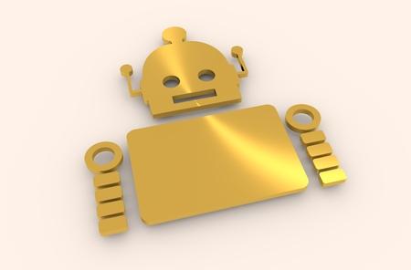singularity: Cute vintage robot. Robotics industry relative image. 3D rendering. Metallic material