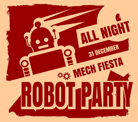retro robot: Retro robot party poster. Mech fiesta. Abstract robot silhouette