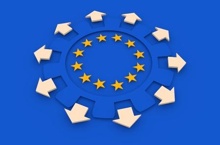 la union hace la fuerza: industria de Europa y el concepto de economía de la Unión Europea. estrellas amarillas en los engranajes radio interior. Las flechas muestran económica multipurposal. representación 3D