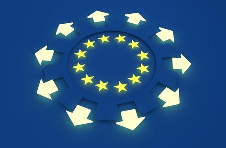 la union hace la fuerza: Europe industry and European Union economy concept. Yellow  stars in gears inner radius. Arrows shows multipurposal economic. 3D rendering